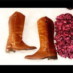 FRYE Melissa Button 2 Cognac Leather Boots